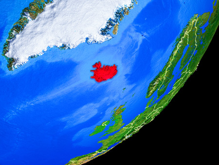 Iceland on planet Earth with country borders and highly detailed planet surface. 3D illustration. Stock Photo