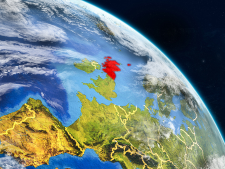 Scotland from space on realistic model of planet Earth with country borders and detailed planet surface and clouds. 3D illustration.