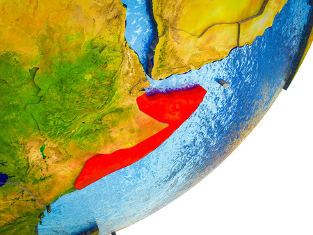 Somalia on 3D model of Earth with water and divided countries. 3D illustration. Stockfoto