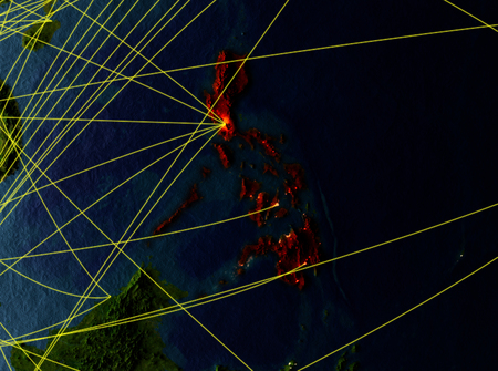 Philippines from space on model of planet Earth with networks. Detailed planet surface with city lights. 3D illustration. Stock Photo