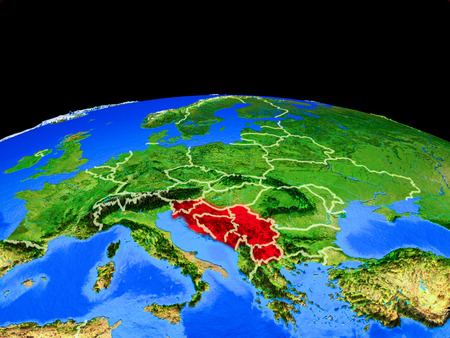 Former Yugoslavia on model of planet Earth with country borders and very detailed planet surface. 3D illustration. Stock Illustration - 113175593