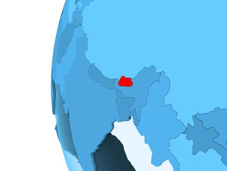 3D render of Bhutan in red on blue political globe with transparent oceans. 3D illustration.
