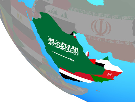 Arabia with national flags on simple globe. 3D illustration.