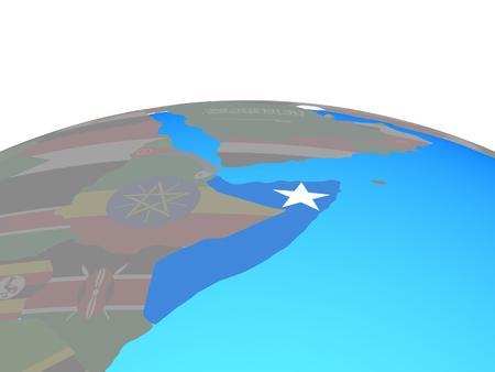 Somalia with national flag on political globe. 3D illustration. Stockfoto