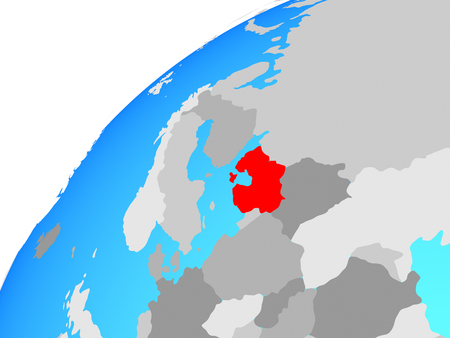 Baltic States on globe. 3D illustration. Stock Photo