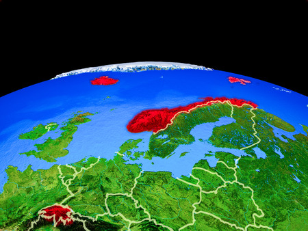 EFTA countries on model of planet Earth with country borders and very detailed planet surface. 3D illustration.