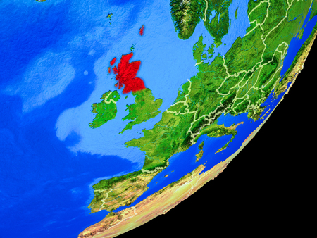 Scotland on planet Earth with country borders and highly detailed planet surface. 3D illustration. Stock Photo