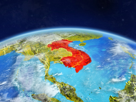 Indochina on planet Earth with country borders and highly detailed planet surface and clouds. 3D illustration.