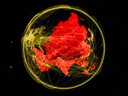 Asia on dark Earth with networks. May be representing air traffic, telecommunications or other communication network. 3D illustration. Stock Photo