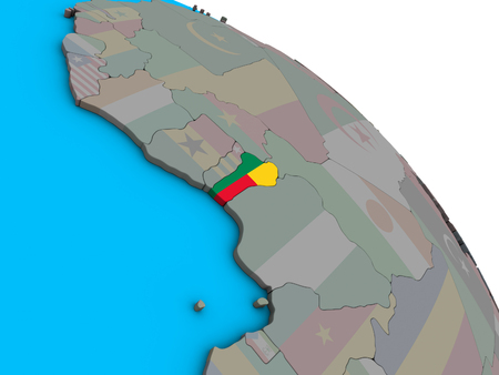 Benin with embedded national flag on simple blue political 3D globe. 3D illustration. Stock Photo