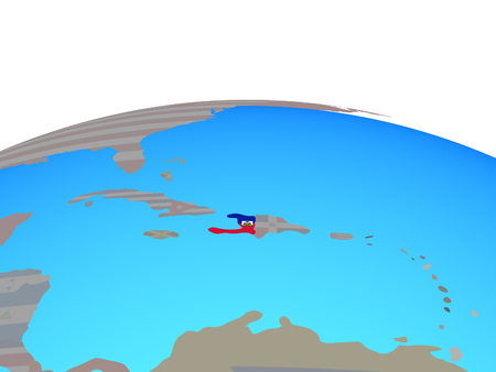 Haiti with national flag on political globe. 3D illustration.