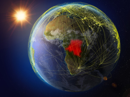 Dem Rep of Congo from space. Planet Earth with network representing international communication, technology and travel. 3D illustration.