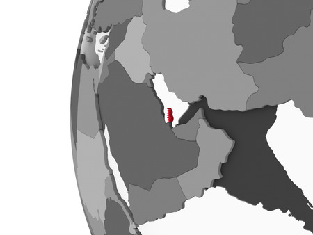 Qatar on gray political globe with embedded flag. 3D illustration. Stock Photo