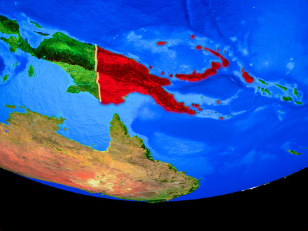 Papua New Guinea from space on model of planet Earth with country borders. 3D illustration.