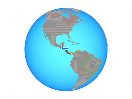 Central America with national flags on blue political globe. 3D illustration isolated on white background.