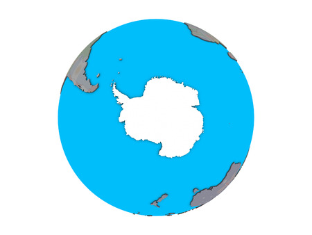 Antarctica with embedded national flag on blue political 3D globe. 3D illustration isolated on white background.