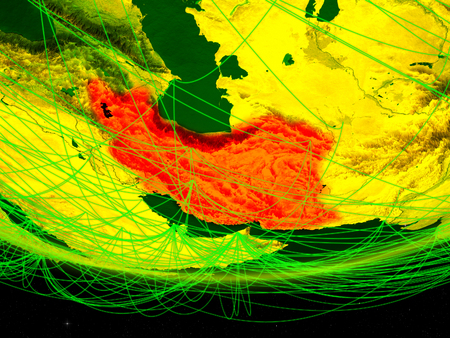 Iran on green model of planet Earth with network representing digital age, travel and communication. 3D illustration. Stock Photo
