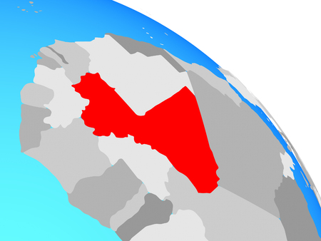 Mali on simple blue political globe. 3D illustration.