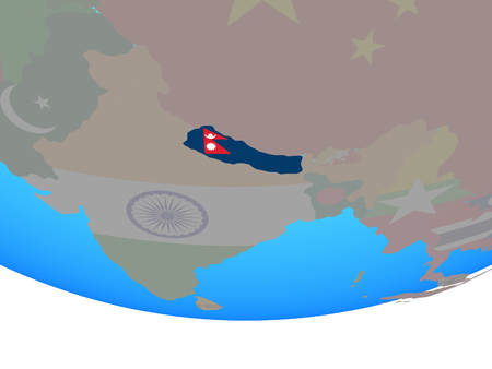 Nepal with national flag on simple political globe. 3D illustration.
