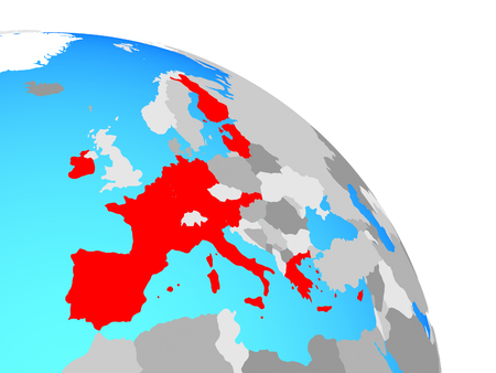 Eurozone member states on simple blue political globe. 3D illustration.