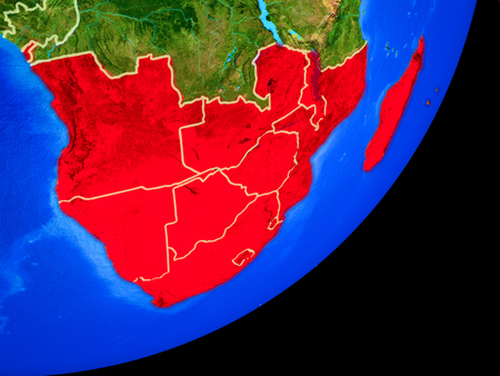 Southern Africa on planet Earth with country borders and highly detailed planet surface. 3D illustration. Stock Photo