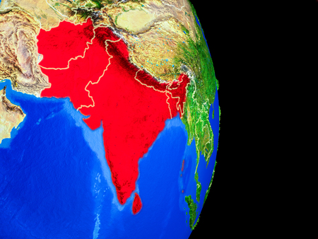 SAARC memeber states on realistic model of planet Earth with country borders and very detailed planet surface. 3D illustration.