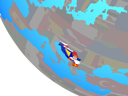 Former Yugoslavia with national flags on simple globe. 3D illustration. Stock Photo
