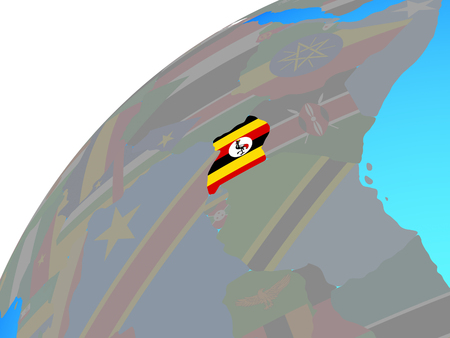 Uganda with embedded national flag on globe. 3D illustration. Stockfoto