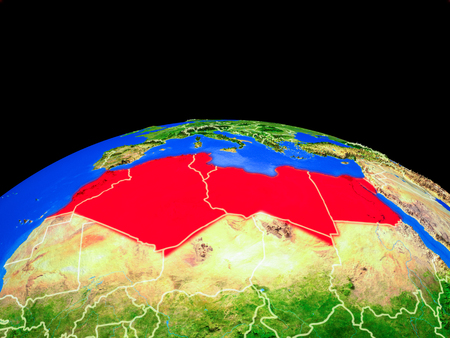 North Africa on model of planet Earth with country borders and very detailed planet surface. 3D illustration. Stock Photo