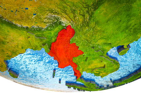 Myanmar on 3D Earth with divided countries and watery oceans. 3D illustration.