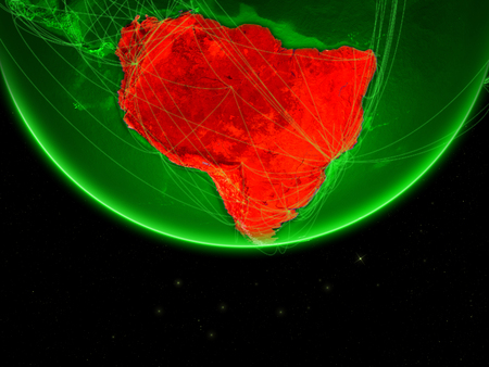 South America on green Earth with networks. Concept of intercontinental connections. 3D illustration.
