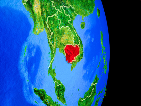 Cambodia on realistic model of planet Earth with country borders and very detailed planet surface. 3D illustration.