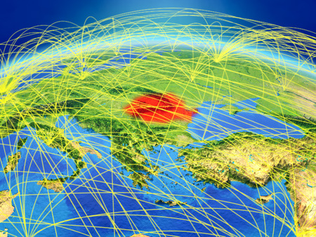 Romania on planet Earth with international network representing communication, travel and connections. 3D illustration.