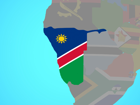 Namibia with national flag on blue political globe. 3D illustration.