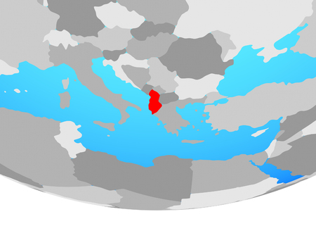 Albania on simple political globe. 3D illustration. Stock Photo
