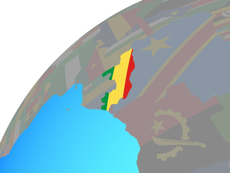 Congo with embedded national flag on globe. 3D illustration. Standard-Bild - 113364397