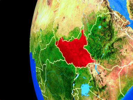 South Sudan from space on realistic model of planet Earth with country borders and detailed planet surface. 3D illustration. 스톡 콘텐츠