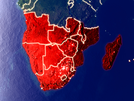 Southern Africa from space on Earth at night. Very fine detail of the plastic planet surface with bright city lights. 3D illustration.
