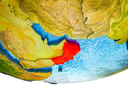 Oman on 3D Earth with divided countries and watery oceans. 3D illustration. 스톡 콘텐츠