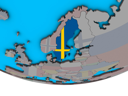 Sweden with embedded national flag on simple political 3D globe. 3D illustration.