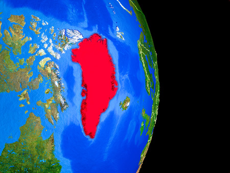 Greenland on realistic model of planet Earth with country borders and very detailed planet surface. 3D illustration.