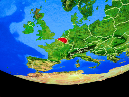 Belgium from space on model of planet Earth with country borders. 3D illustration.