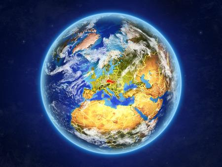 Dawna Czechosłowacja z kosmosu. Planeta Ziemia z granicami kraju i wyjątkowo wysokimi szczegółami powierzchni planety i chmur. Ilustracja 3D.