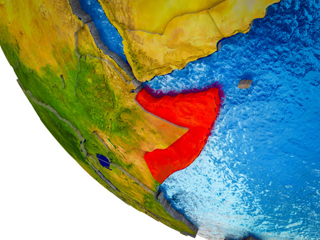 Somalia on model of Earth with country borders and blue oceans with waves. 3D illustration. Stockfoto