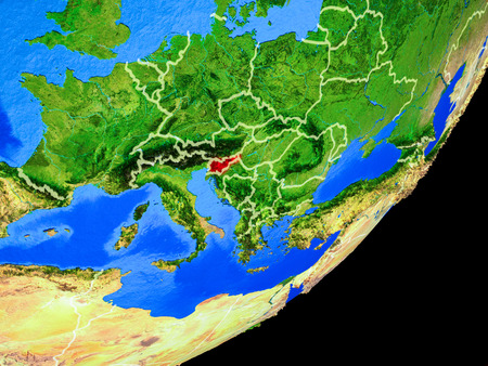 Slovenia on planet Earth with country borders and highly detailed planet surface. 3D illustration. Stock Photo