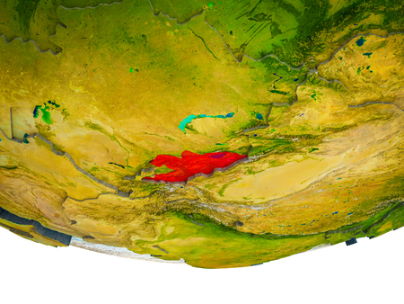 Kyrgyzstan on 3D Earth with divided countries and watery oceans. 3D illustration. Stock Photo