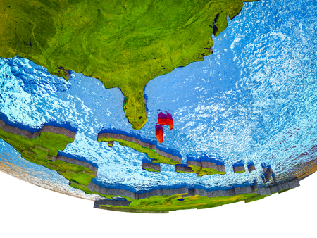 Bahamas on 3D Earth with divided countries and watery oceans. 3D illustration.