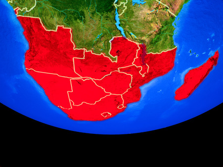Southern Africa from space on model of planet Earth with country borders. 3D illustration.
