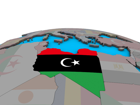 Libya with embedded national flag on political 3D globe. 3D illustration.