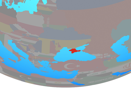 Crimea with national flag on simple political globe. 3D illustration.